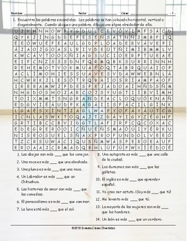 Comparative Adjectives Spanish Word Search Worksheet