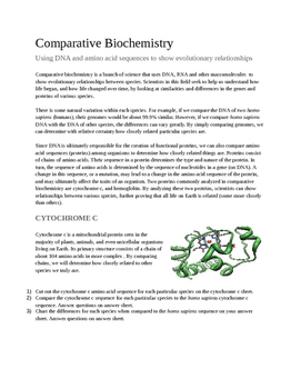 Evolution - Comparative Biochemistry and Common Descent