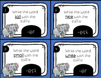 Comparative Ending Suffix -er, -est Task Cards