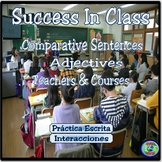 Class topic:  Comparative Expression Worksheets - Opiniones de mis clases