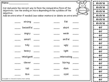 Comparative Form for Young Learners FREEBIE