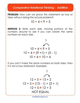 Comparative Relational Thinking - Math Logic Skill for Balancing Equations