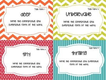 Comparative & Superlative Adjective Task Cards (Grades 3 - 6)