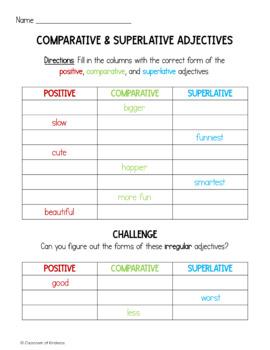 Comparative & Superlative Adjectives FREEBIE!