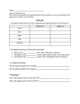 Comparative Superlative Adjectives Quick Quiz 3rd grade