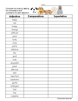 Adjectives Comparative Superlative Activity and a Set of Task Cards