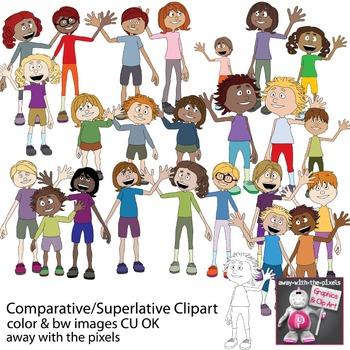 Comparative / Superlative People Clipart - Grammar Clipart ESL - Inc Blackline