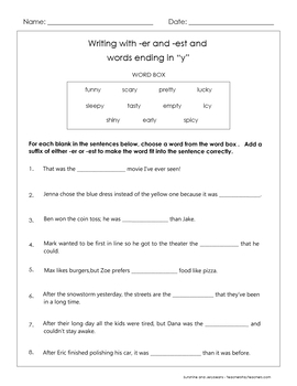 "Comparative/Superlative -er & -est suffixes - words ending in ""y"" - 3rd grade"