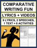 Comparative Writing FUN Lyrics & Videos: No Prep Elaboration Practice