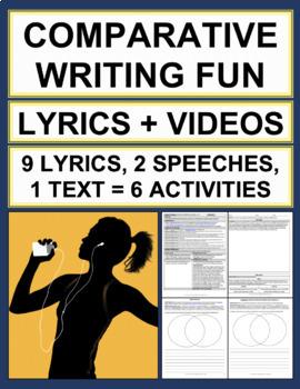 Comparative Writing: BUNDLE: 6 Activities: Lyrics & Video