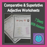 Comparative and Superlative Adjective Worksheet Pack