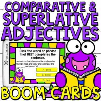Comparative and Superlative Adjectives Boom Cards (Digital Task Cards)