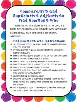 Comparative and Superlative Adjectives - Find Someone Who