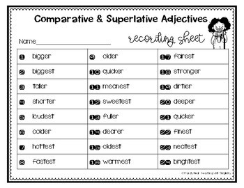 Comparative and Superlative Adjectives Grammar Task Cards, Games, and Centers