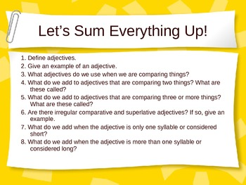 Comparative and Superlative Adjectives Powerpoint