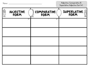Comparative and Superlative Adjectives Sorts