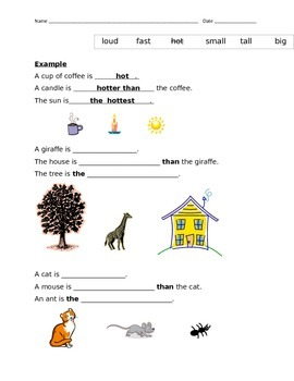 Comparative and Superlative Adjectives Worksheet