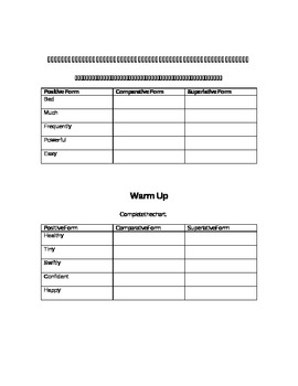 Comparative and Superlative Adjectives and Adverbs: Warm Ups