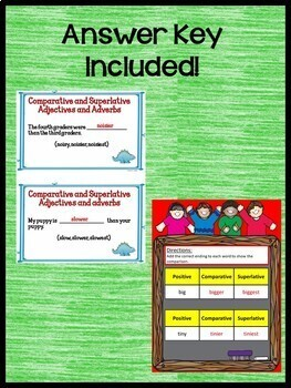 Comparative and Superlative Adjectives Practice for Google Drive L.3.1.G