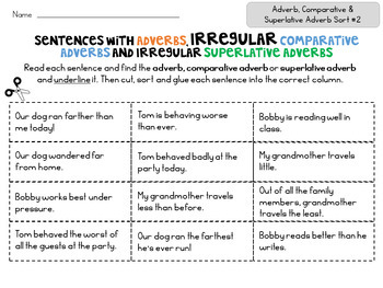 Comparative and Superlative Adverb Sorts