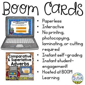 Comparative and Superlative Adverbs Boom Cards (Digital Task Cards) for grades