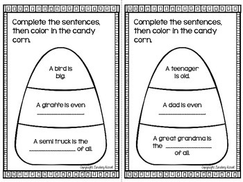 Comparative and Superlative Candy Corn Books FREEBIE