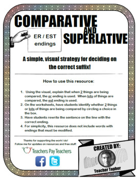Comparative and Superlative - ER and EST endings - EDITABLE Worksheets w/ visual