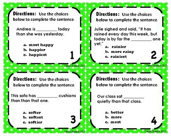 Comparative and Superlative Task Cards