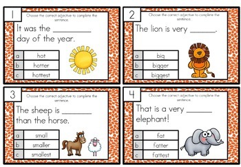 Comparative and Superlative Task Cards Differentiated