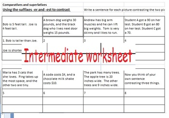 Comparative and Superlative sentence writing: er, est, more than, most