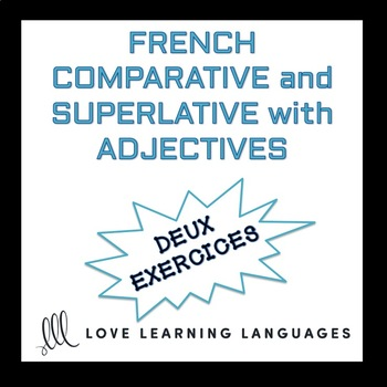 Comparative and superlative with adjectives French worksheet