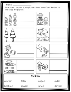 Comparative (er and est) Endings Activity/Worksheet Pack