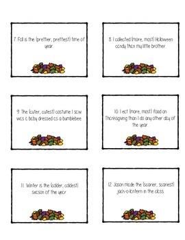Comparative vs. Superlative Task Cards