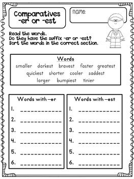 Comparatives -ER and -EST Word Work Pack by Hope Blumenthal | TpT