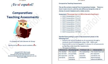 Comparatives Teaching Assessments