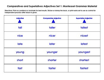 Comparatives and Superlatives Adjectives: Set 1