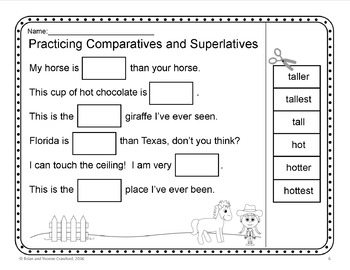 Comparatives and Superlatives Cut and Paste Printables