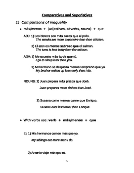 Comparatives and Superlatives notes