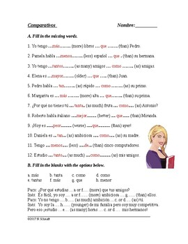 Comparativos - Worksheet on Spanish Comparatives (mejor, peor, tanto, tan etc.)