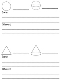 Compare 2D and 3D Shapes Freebie