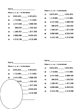 Compare 6 and 7 Digit Numbers 7 Problems Place < and >   4 per Sheet