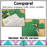 Compare!  number word identification game for math centers