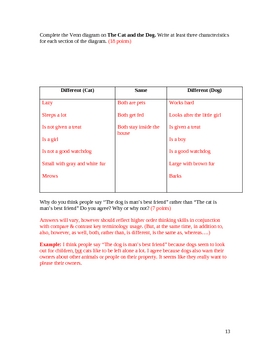 Compare and Contrast Assessment Student and Teacher Versions