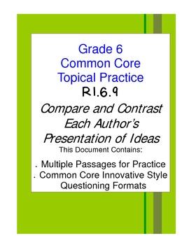 Compare Author's Ideas Grade 6 Common Core RI.6.9