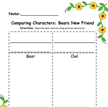 Compare Characters: Bear's New Friend FREEBIE