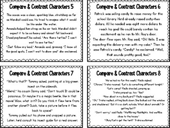 Compare & Constrast Characters Task Cards & Venn Diagram Response Sheets