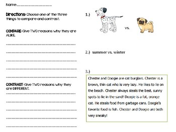 Differentiated Compare/Contrast Exit Ticket