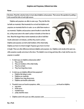 Compare/Contrast Dolphins & Porpoises - 8 Multiple Choice Reading Comp Questions