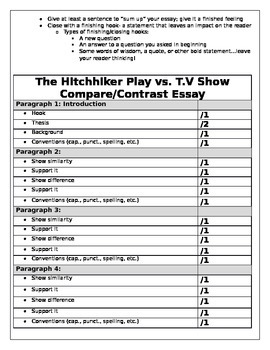 Compare/Contrast Essay Guide/Rubric The Hitchhiker by Lucille Fletcher