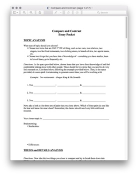Compare & Contrast Essay Packet